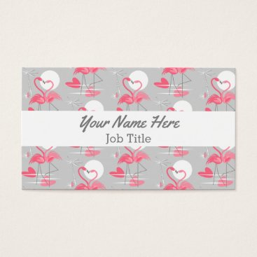 Professional Business Flamingo Love Tiled white stripe business card