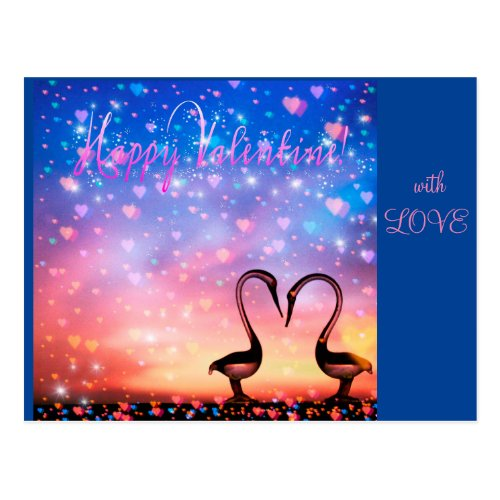 FLAMINGO LOVE VALENTINE POSTCARD