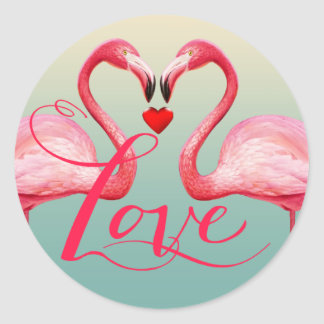 Flamingo Love Wedding Favor | mint blue Classic Round Sticker