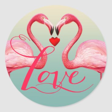 Beach Themed Flamingo Love Wedding Favor | mint blue Classic Round Sticker