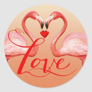Beach Themed Flamingo Love Wedding Favor | peach Classic Round Sticker
