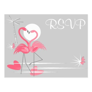 Beach Themed Flamingo Love wedding RSVP landscape postcard