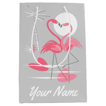 Beach Themed Flamingo Love With Love gift bag medium