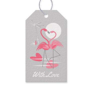 Beach Themed Flamingo Love With Love pink back gift tags