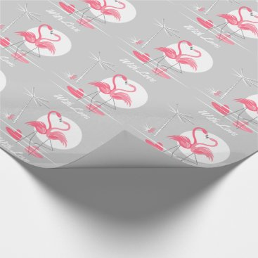 Beach Themed Flamingo Love With Love wrapping paper