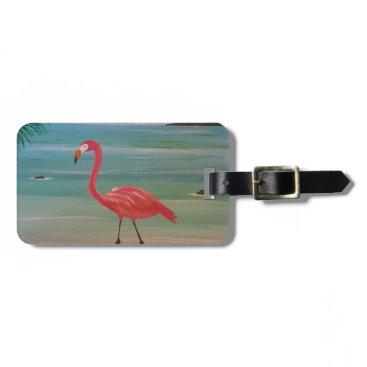 Beach Themed flamingo luggage tag