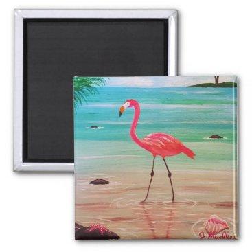 Beach Themed Flamingo Magnet