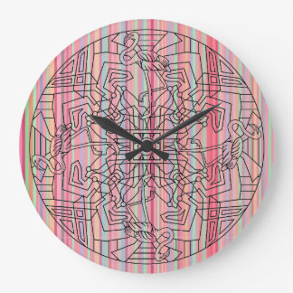 Flamingo Mandala Bird Pink Rainbow Stripe Design Large Clock