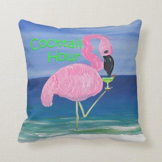 Flamingo Margarita Beach Cocktail Hour Pillow