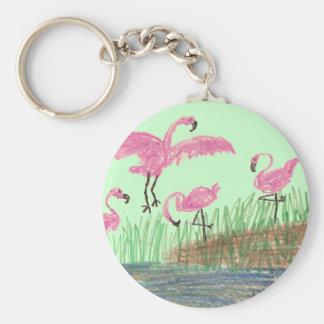 Flamingo Mash Basic Round Button Keychain