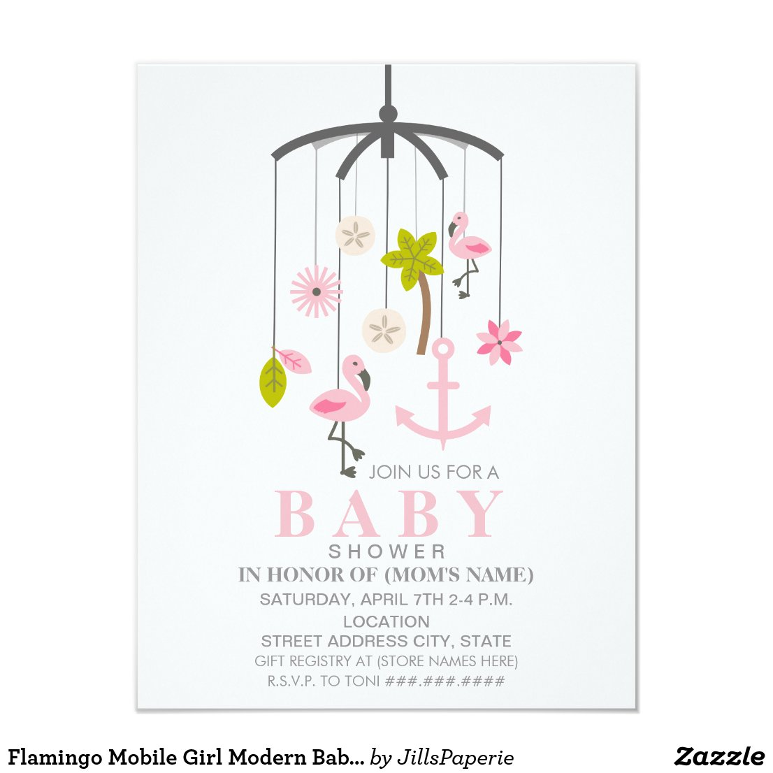 Flamingo Mobile Girl Modern Baby Shower Card