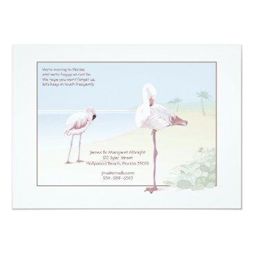 Beach Themed Flamingo Moving Announcement