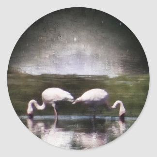 Flamingo Nights Classic Round Sticker