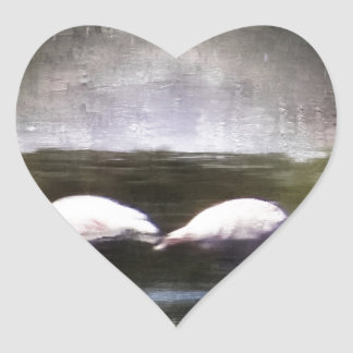 Flamingo Nights Heart Sticker