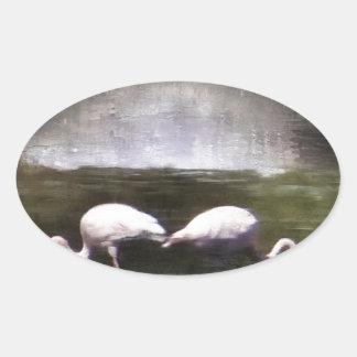 Flamingo Nights Oval Sticker