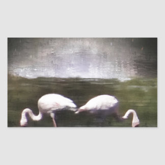Flamingo Nights Rectangular Sticker