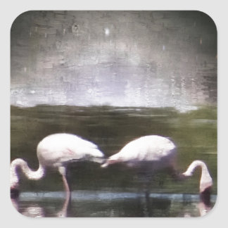 Flamingo Nights Square Sticker