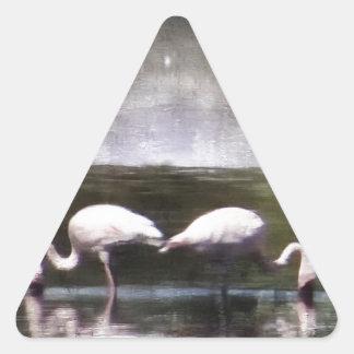 Flamingo Nights Triangle Sticker