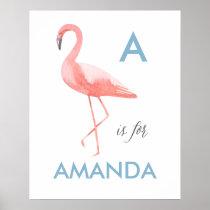 Flamingo nursery art print   Baby name