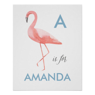 Flamingo nursery art print | Baby name