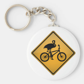 Flamingo on Bicycle Basic Round Button Keychain