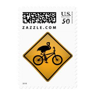 Flamingo on Bicycle Postage