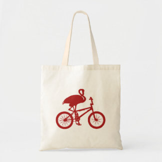 Flamingo on Bicycle Silhouette Canvas Bag