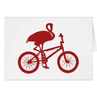 Flamingo on Bicycle Silhouette Card