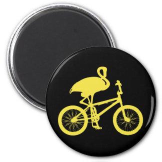 Flamingo on Bicycle Silhouette Fridge Magnets