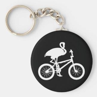 Flamingo on Bicycle Silhouette Keychain