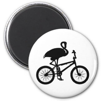 Flamingo on Bicycle Silhouette 2 Inch Round Magnet