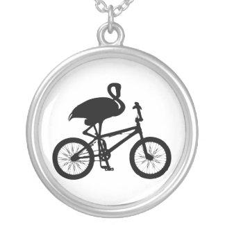Flamingo on Bicycle Silhouette Pendants