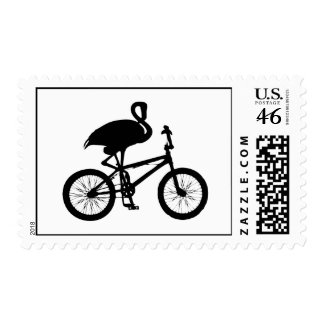 Flamingo on Bicycle Silhouette Postage Stamp
