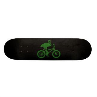 Flamingo on Bicycle Silhouette Skateboard Deck