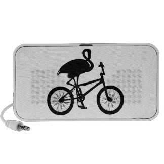 Flamingo on Bicycle Silhouette iPod Speakers