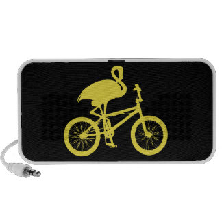 Flamingo on Bicycle Silhouette iPhone Speakers