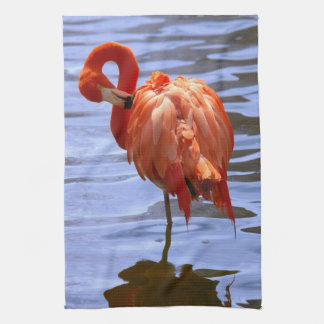 Flamingo on one leg in water kitchen towels