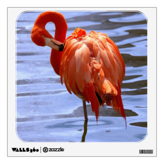 Flamingo on one leg in water wall sticker