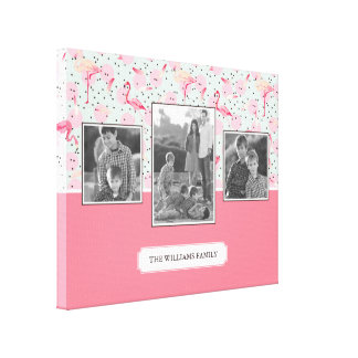 Flamingo On Polka Dots | Family Photos with Text Canvas Print