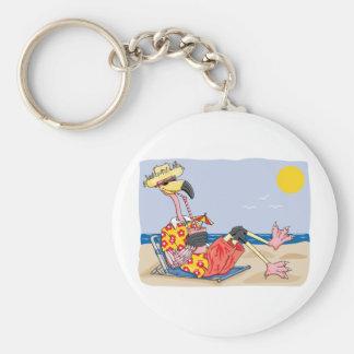 Flamingo On the Beach Basic Round Button Keychain