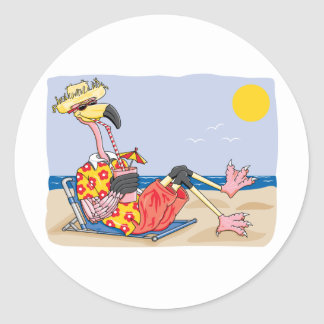 Flamingo On the Beach Classic Round Sticker