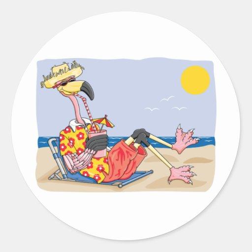 Flamingo On the Beach Classic Round Sticker