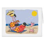 Flamingo On the Beach Greeting Card