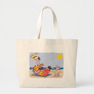 Flamingo On the Beach Jumbo Tote Bag
