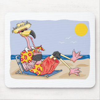 Flamingo On the Beach Mouse Pad