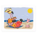 Flamingo On the Beach Post Cards