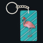 "Flamingo On Turquoise Stripes Personalized Keychain<br><div class=""desc"">Flamingo on turquoise stripes. Your name on the reverse.</div>"