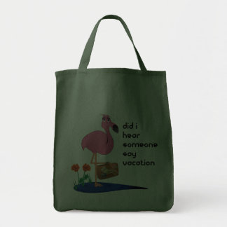 Flamingo on Vacation Tote Grocery Tote Bag