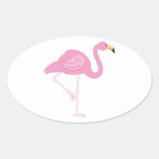 Flamingo Oval Sticker