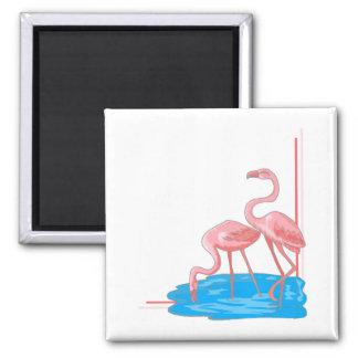 Flamingo Pair 2 Inch Square Magnet